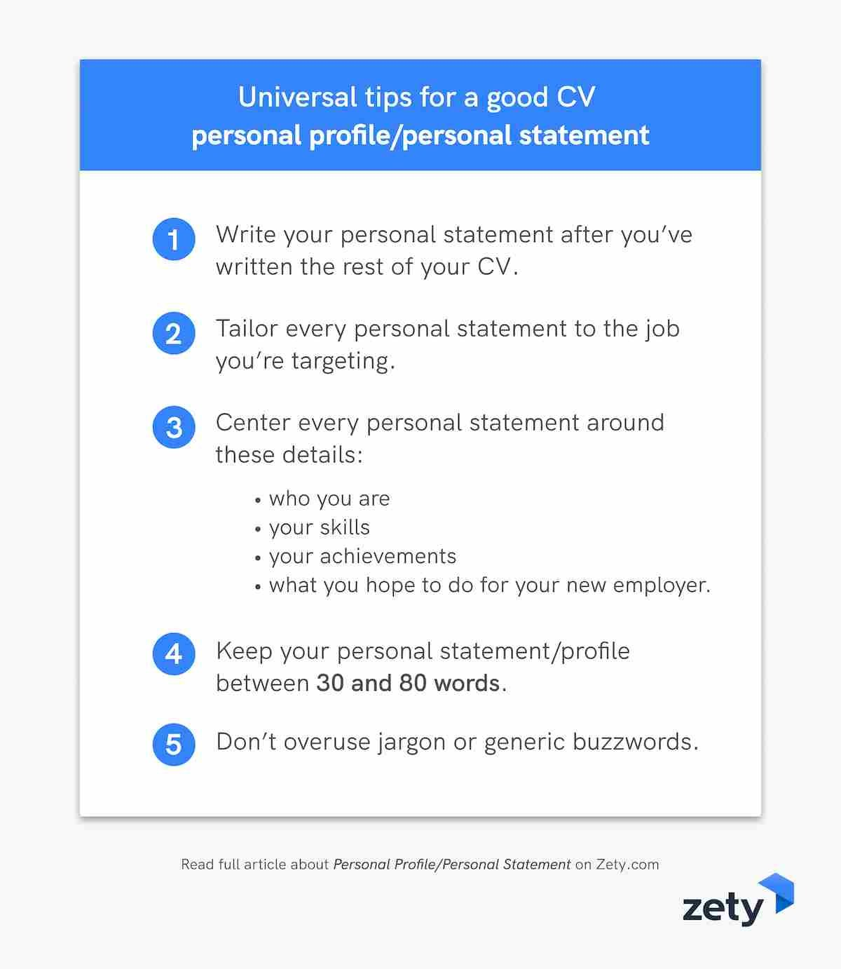 Universal tips for a good CV personal profile/personal statement