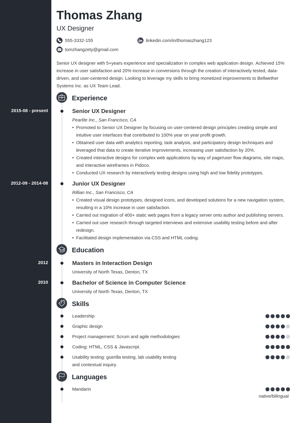 ux designer resume example template concept