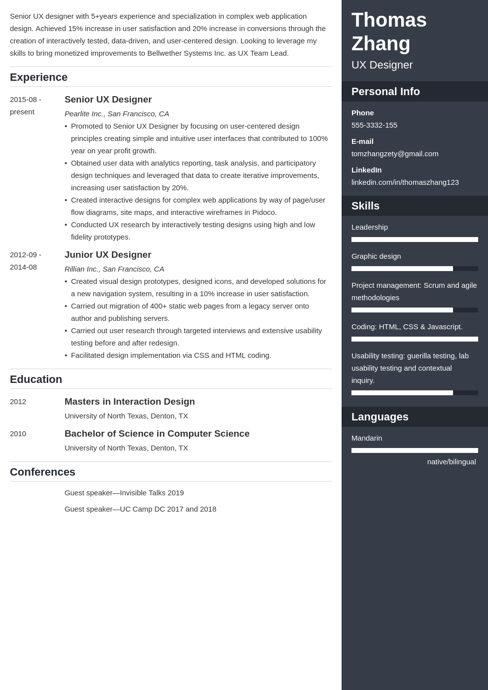 ux designer resume example template enfold