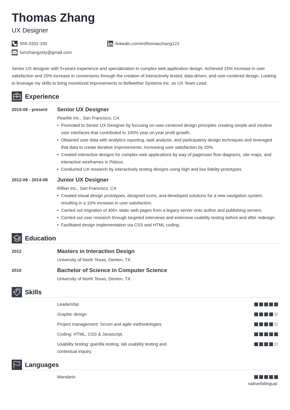 ux designer resume example template iconic