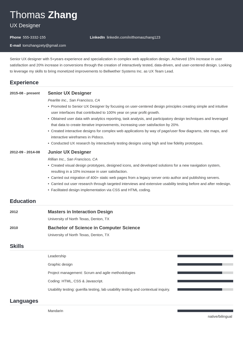 ux designer resume example template influx