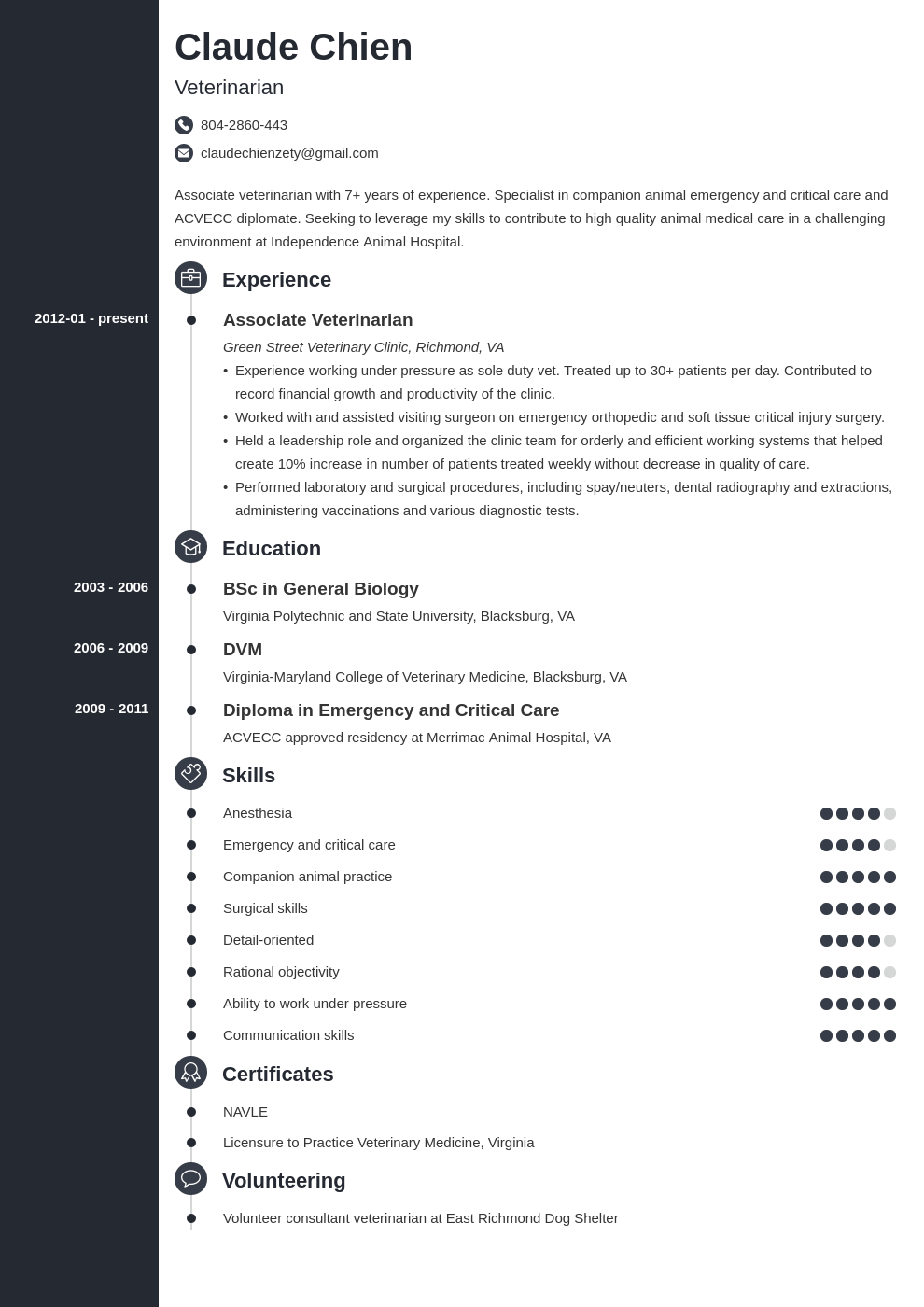 veterinarian resume example template concept