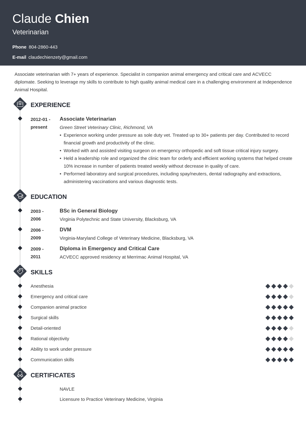 veterinarian resume example template diamond