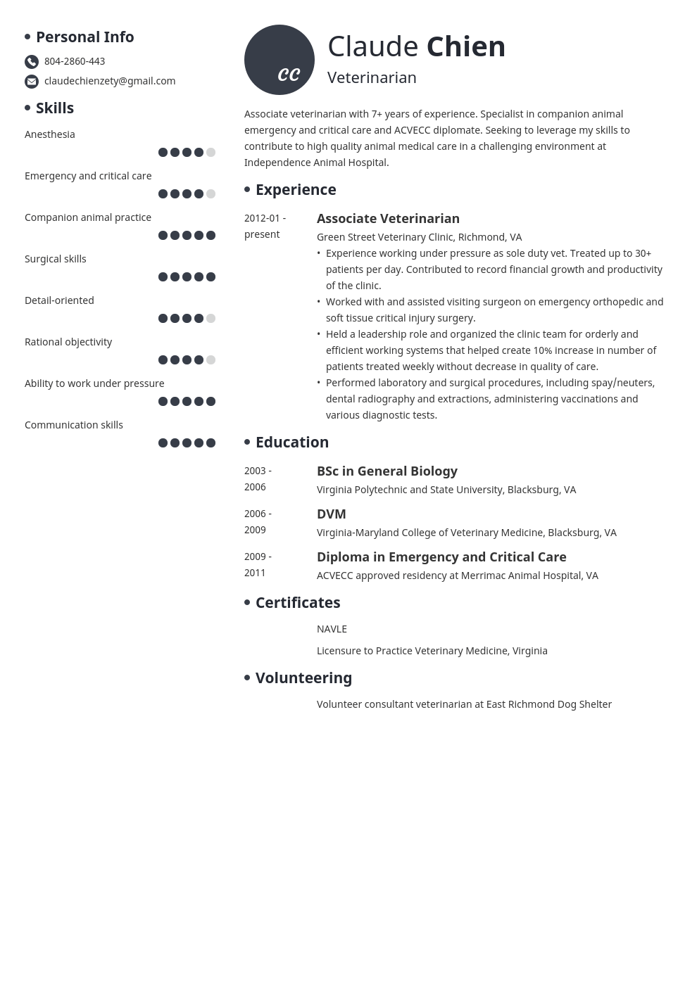 veterinarian resume example template initials