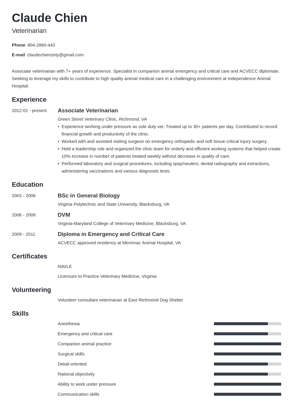 veterinarian resume example template minimo