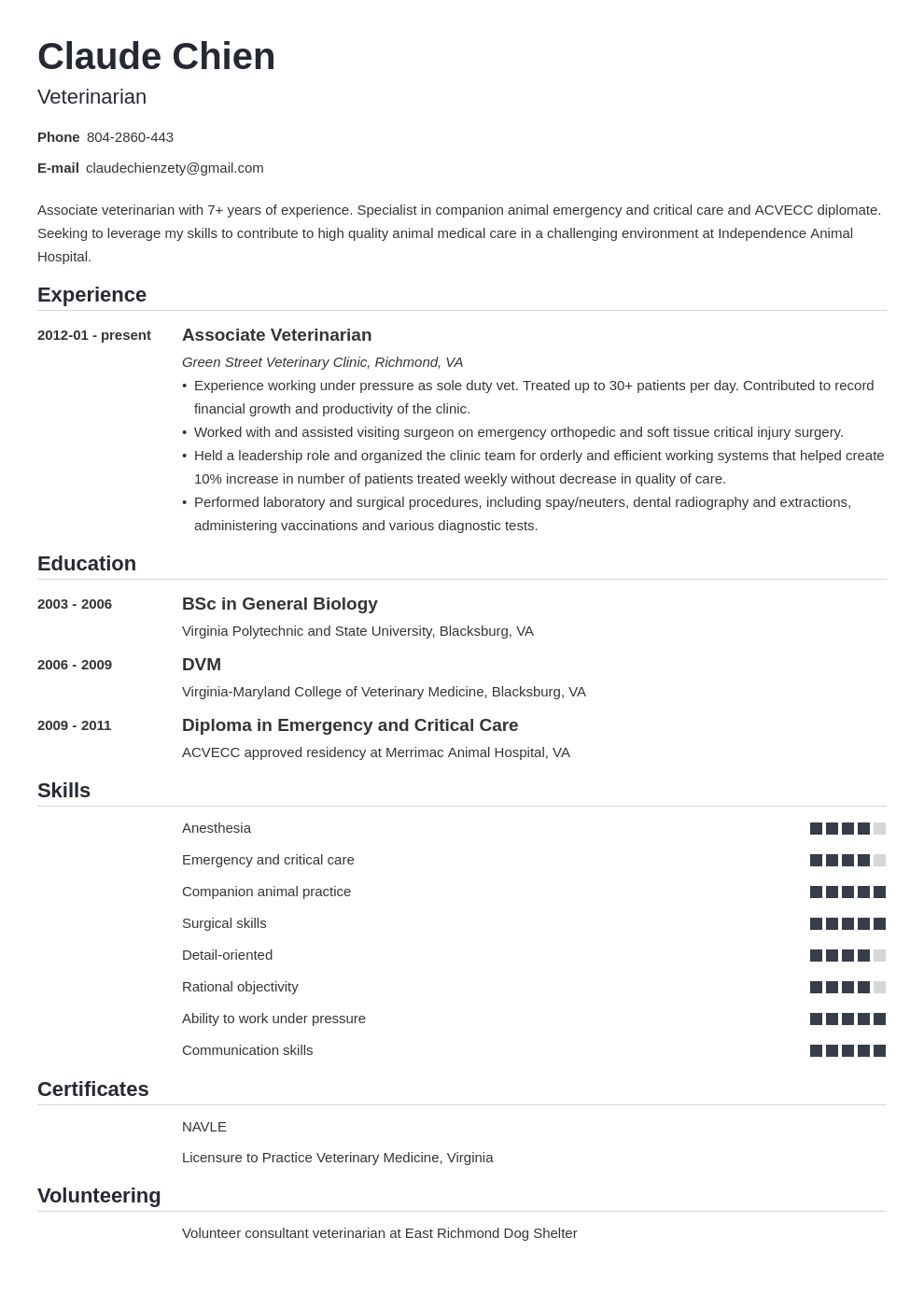 veterinarian resume example template nanica
