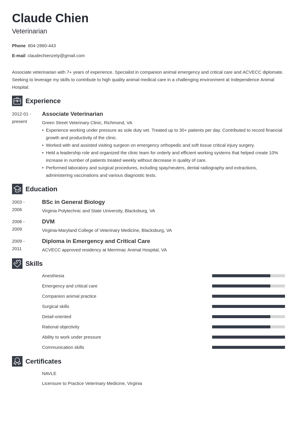 veterinarian resume example template newcast