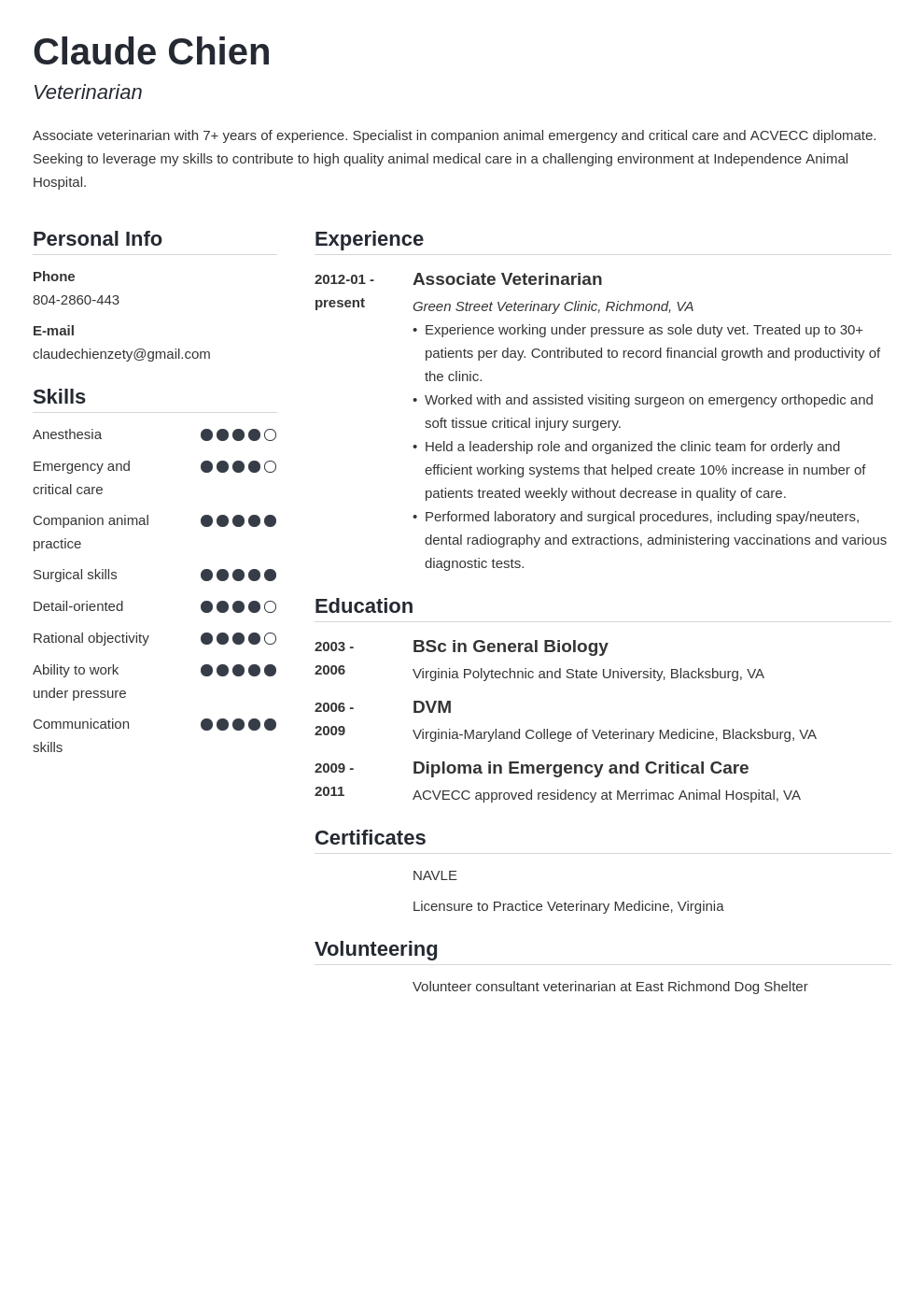 veterinarian resume example template simple