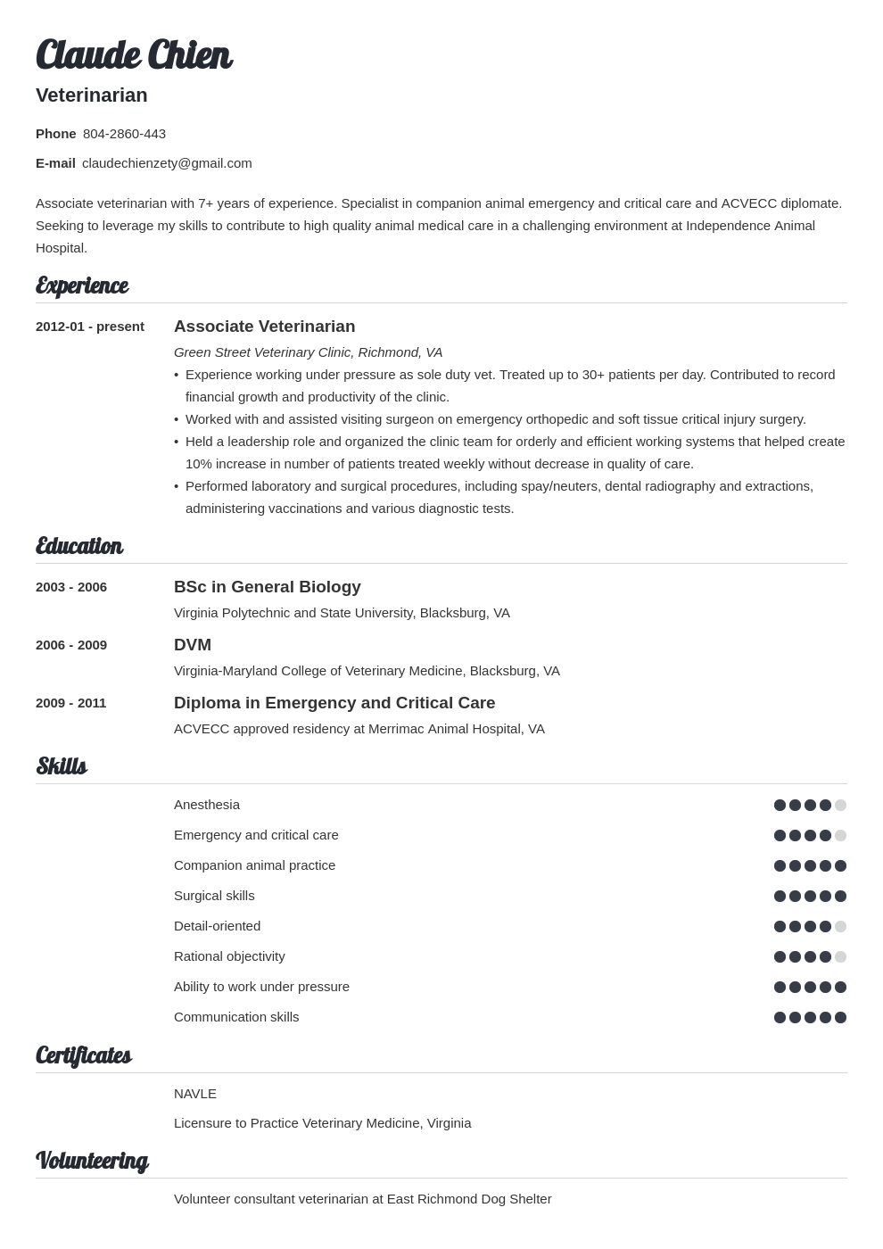 veterinarian resume example template valera