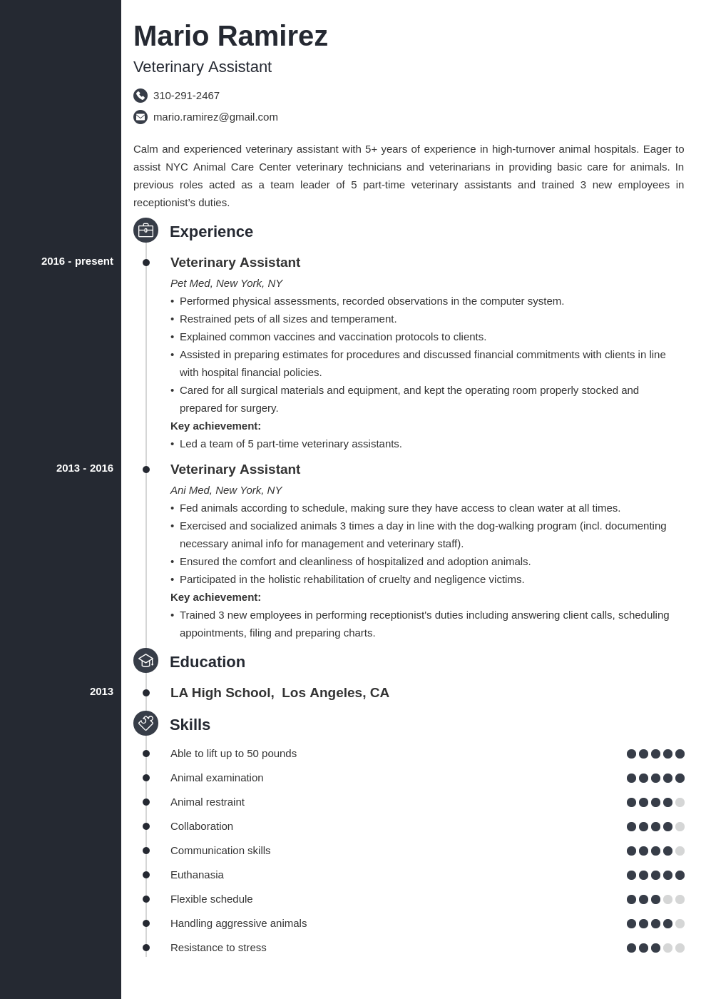 veterinary assistant resume example template concept