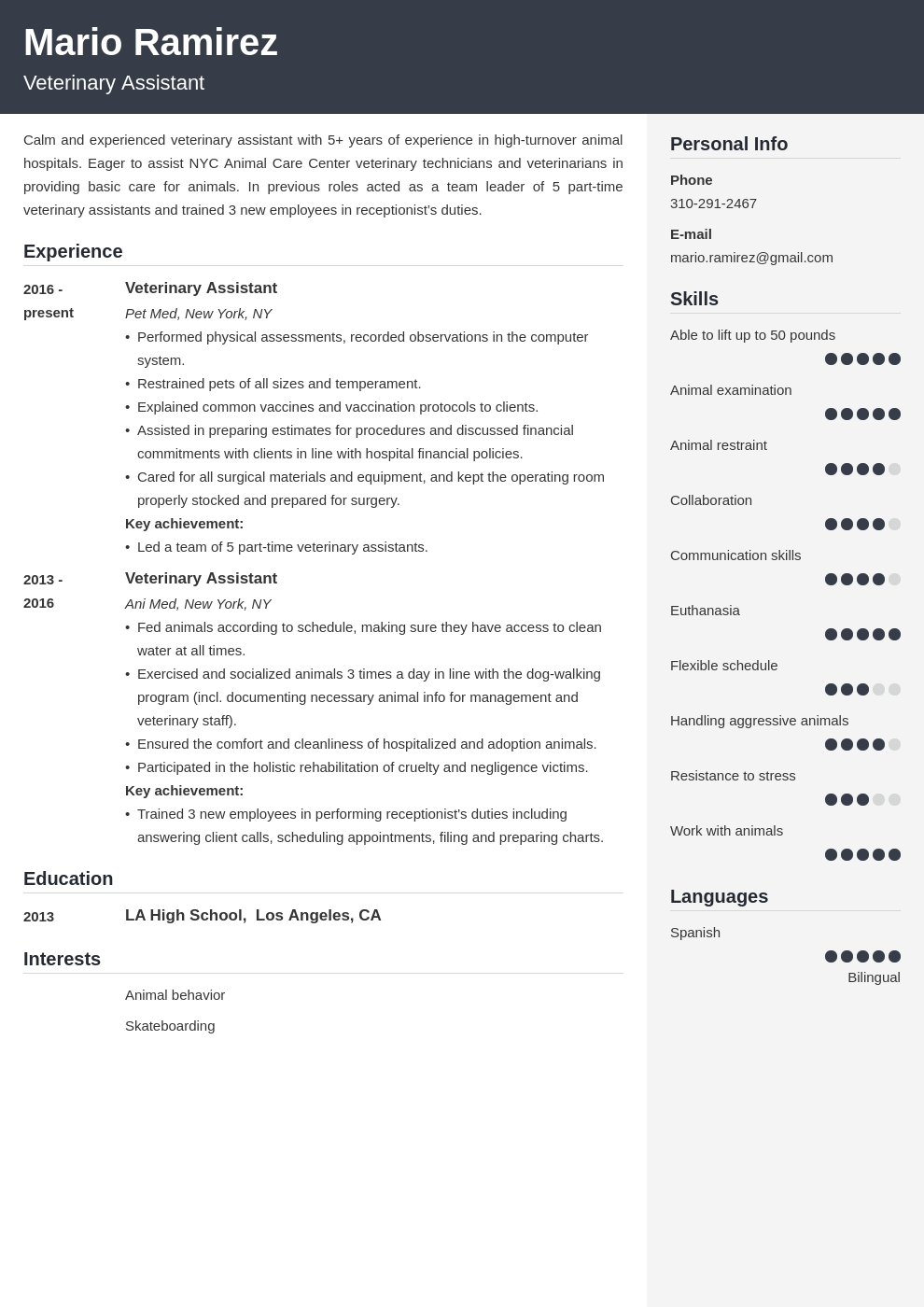 veterinary assistant resume example template cubic