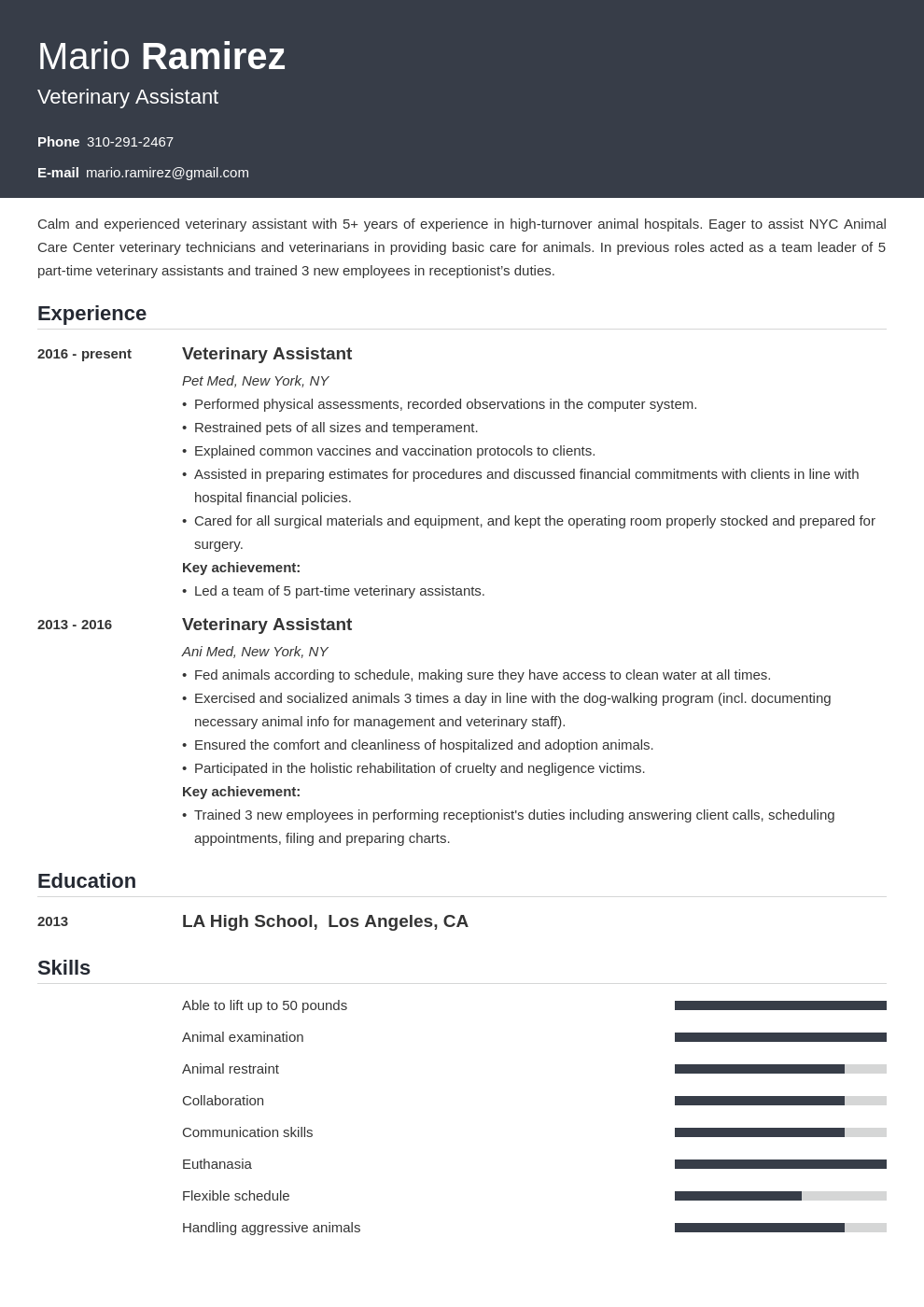 veterinary assistant resume example template influx