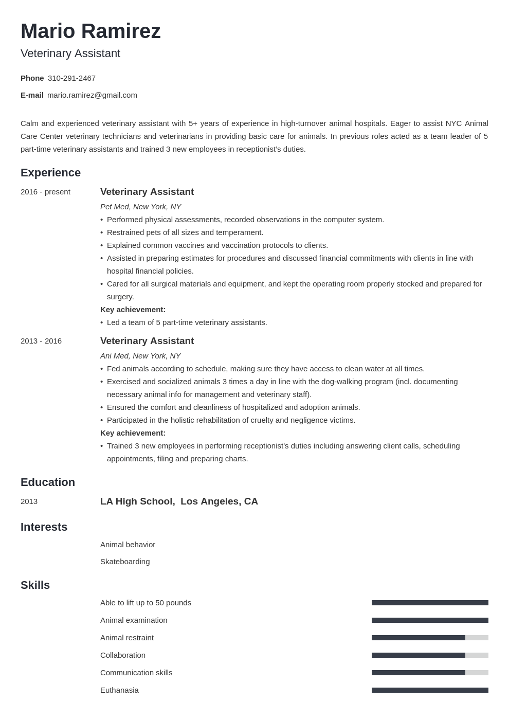 veterinary assistant resume example template minimo