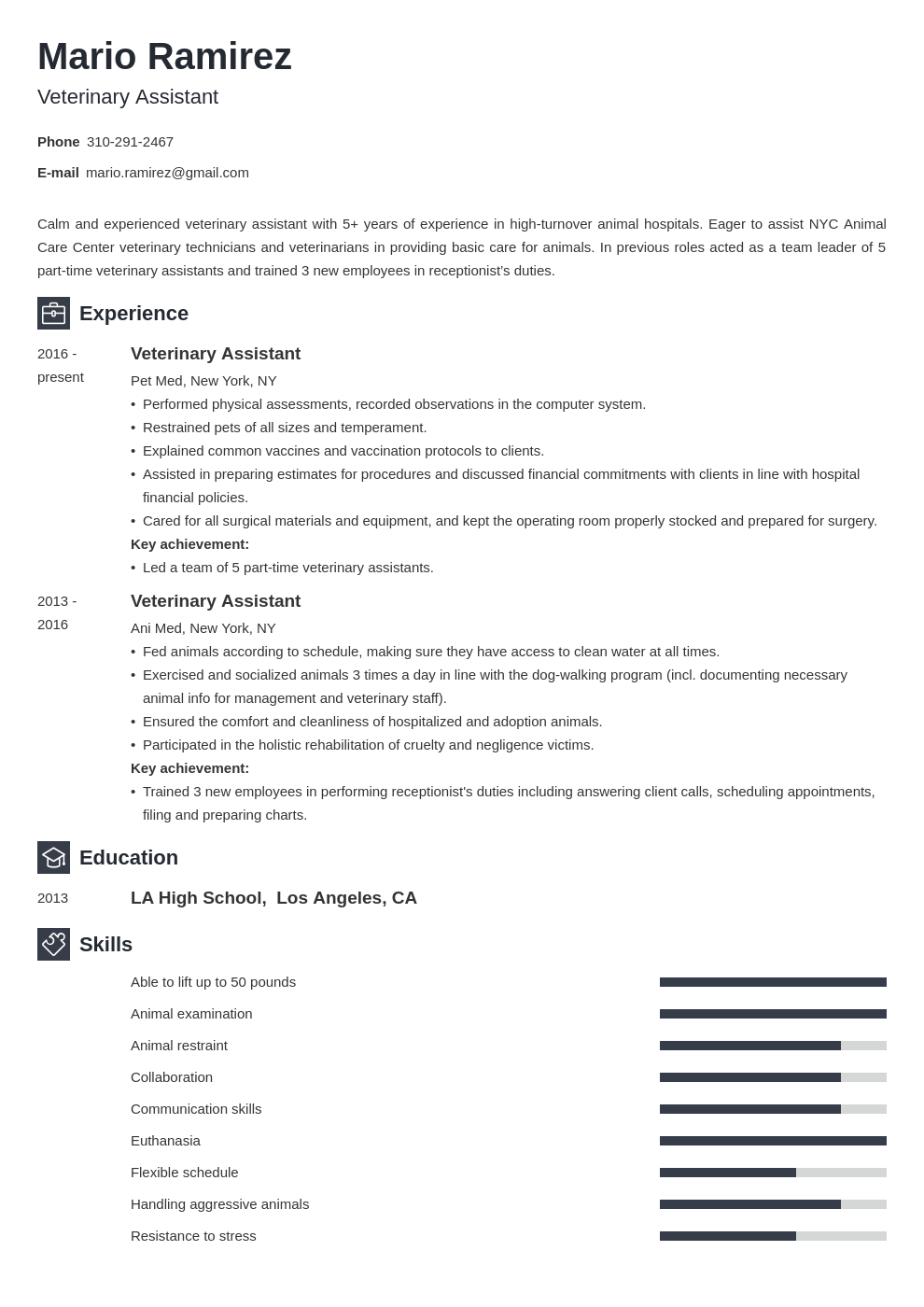 veterinary assistant resume example template newcast