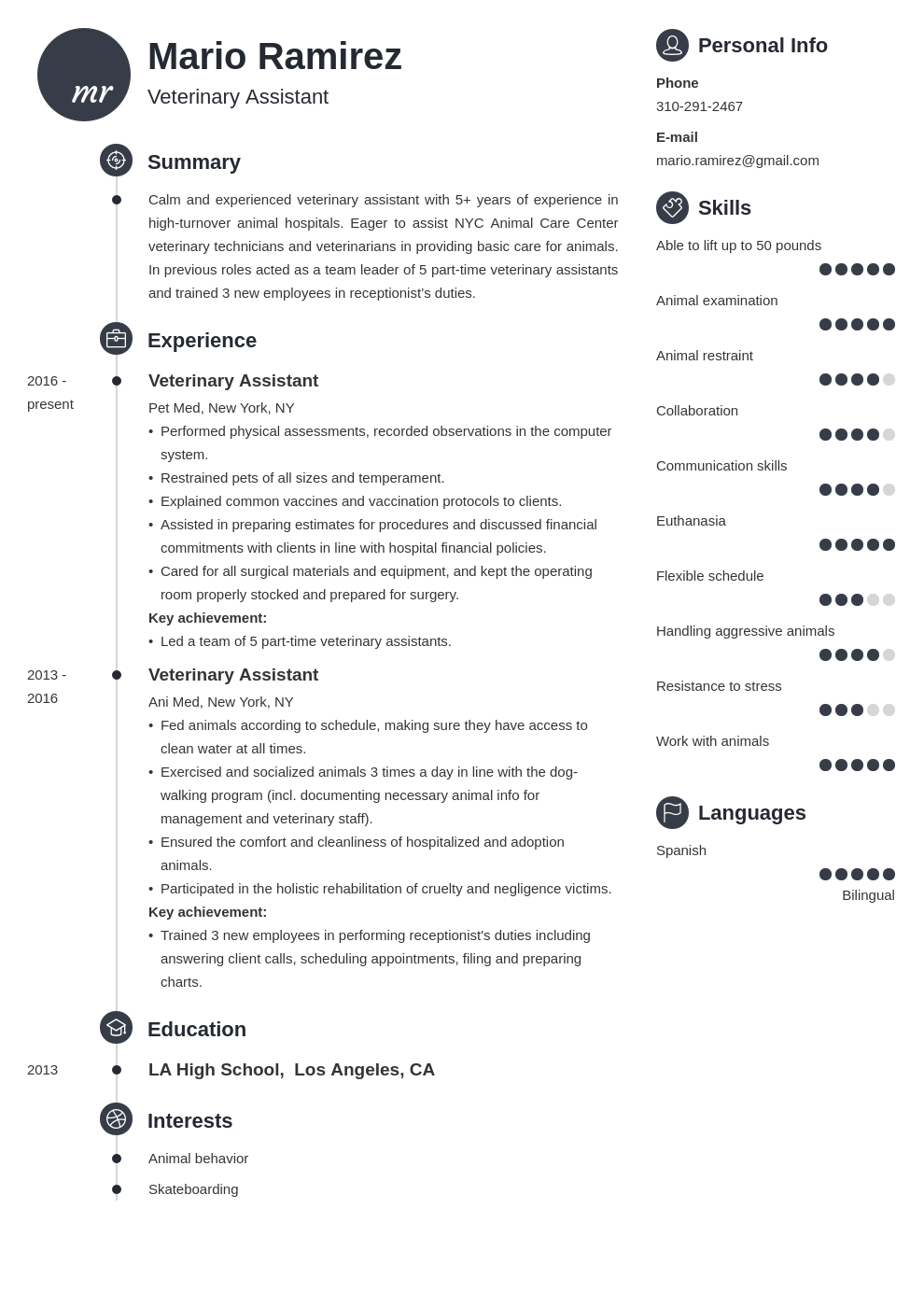veterinary assistant resume example template primo
