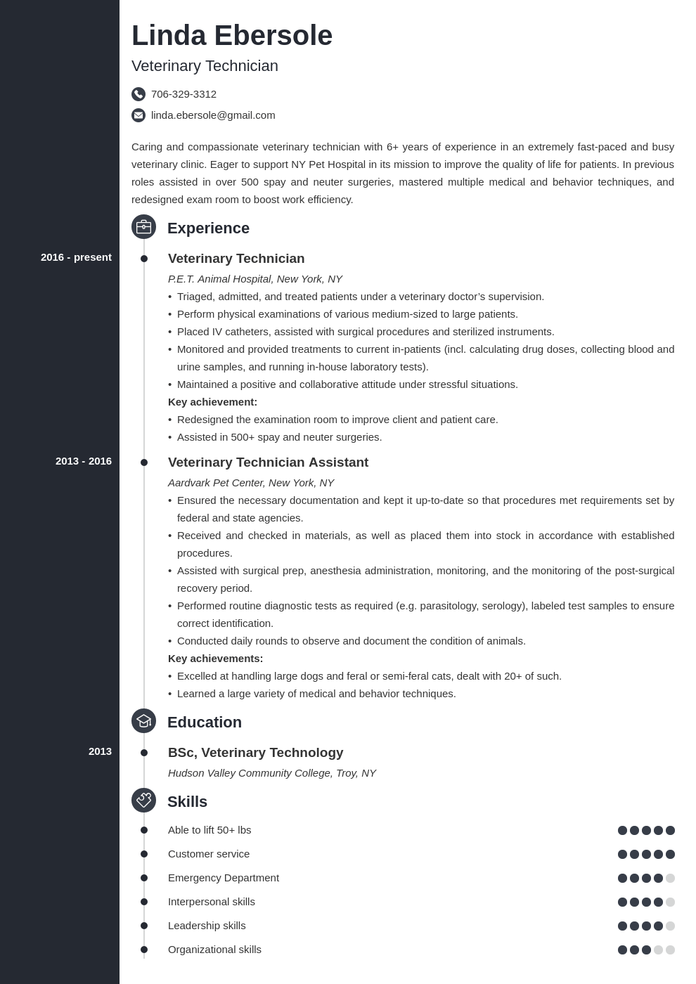 veterinary technician resume example template concept
