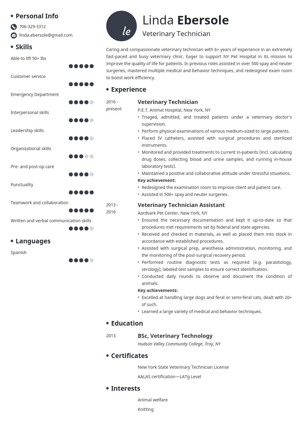 veterinary technician resume example template initials