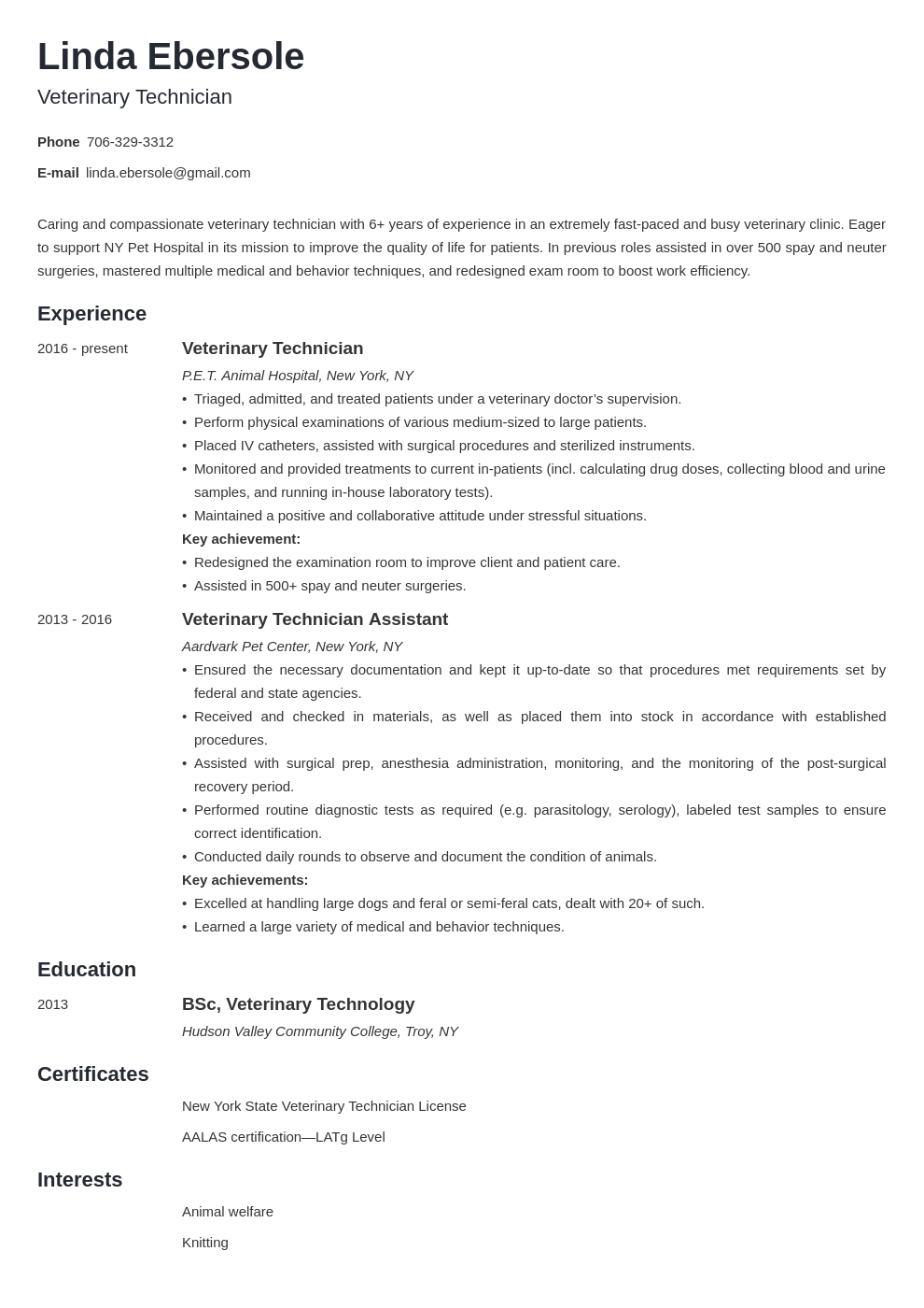 veterinary technician resume example template minimo