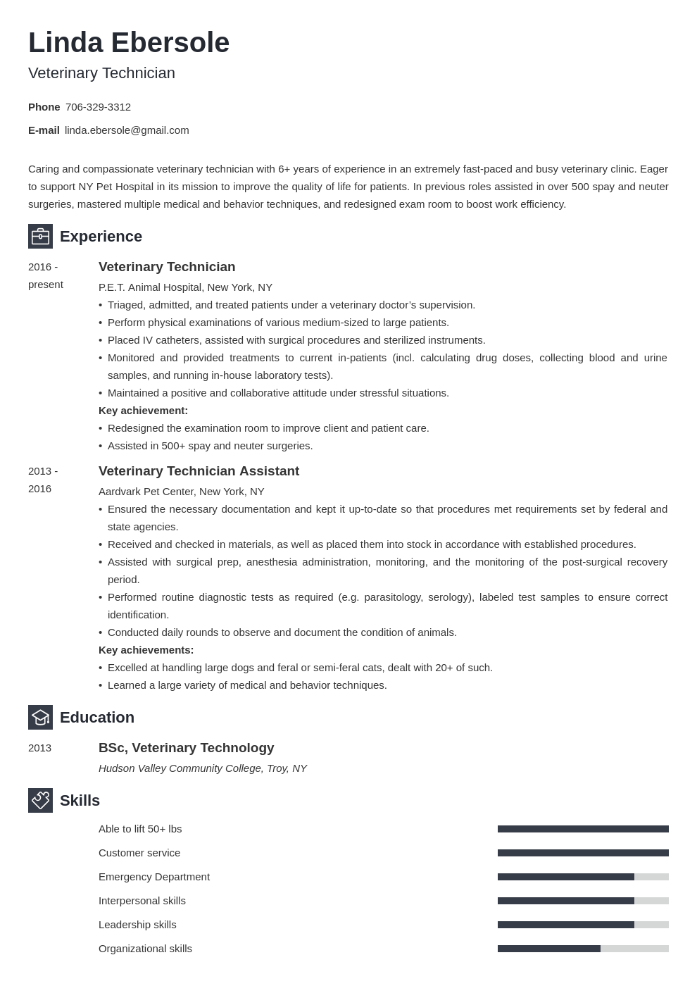 veterinary technician resume example template newcast