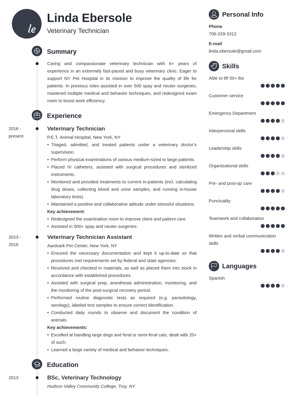 veterinary technician resume example template primo