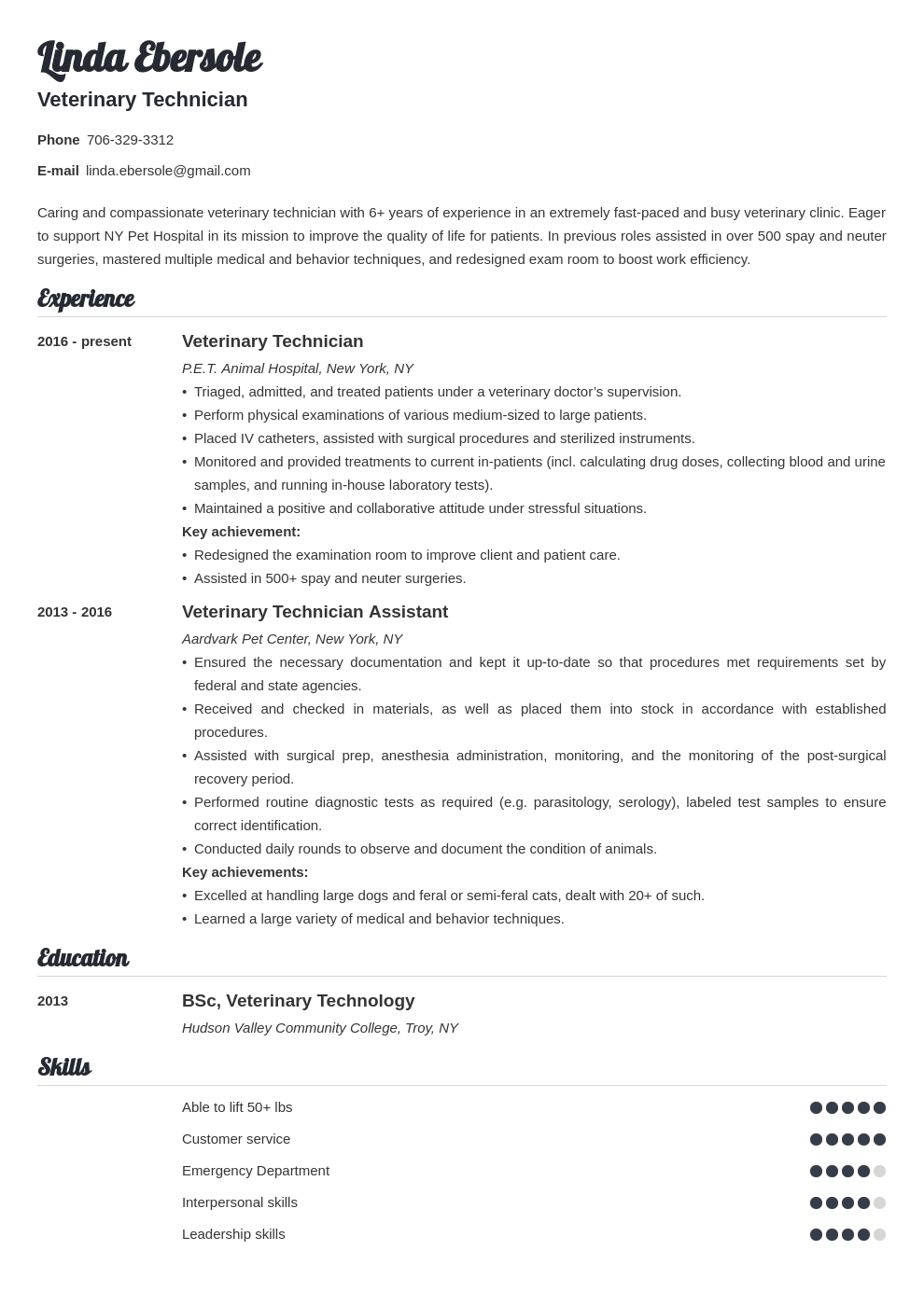 veterinary technician resume example template valera