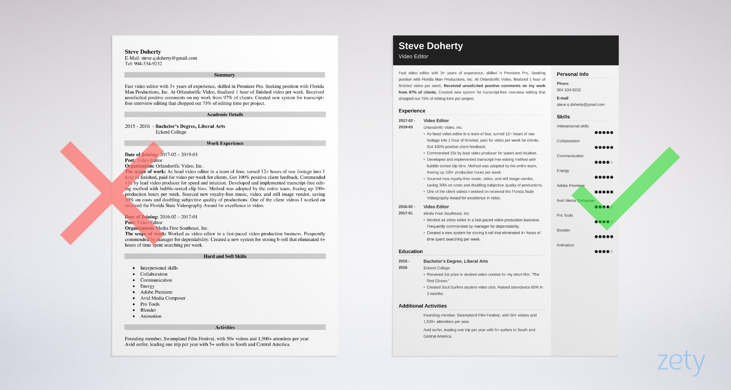 video editor resume templates