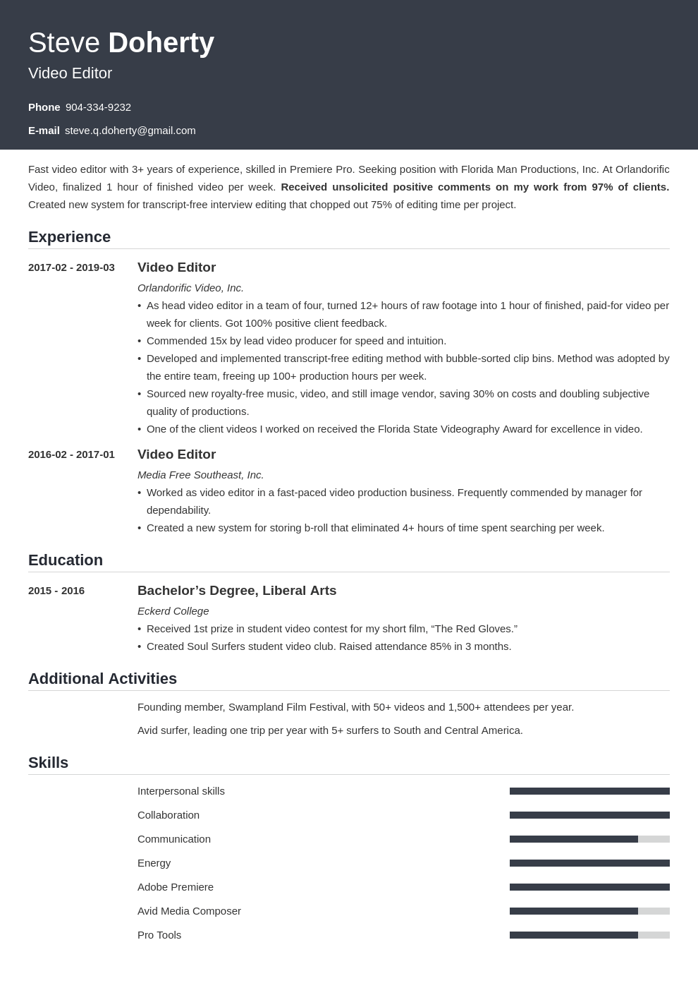video editor resume example template influx
