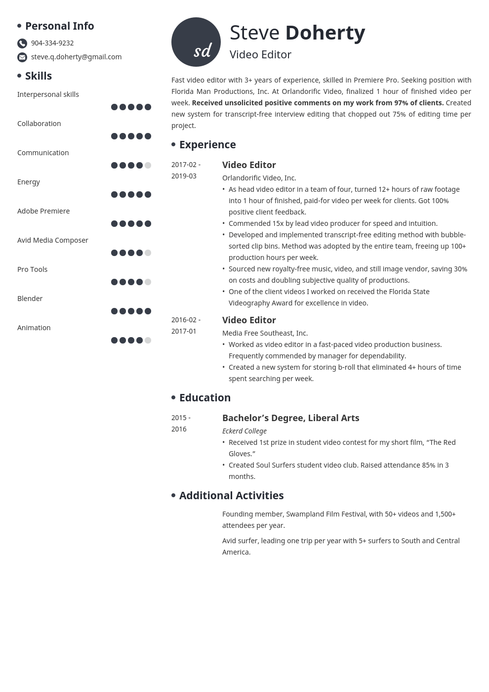 video editor resume example template initials