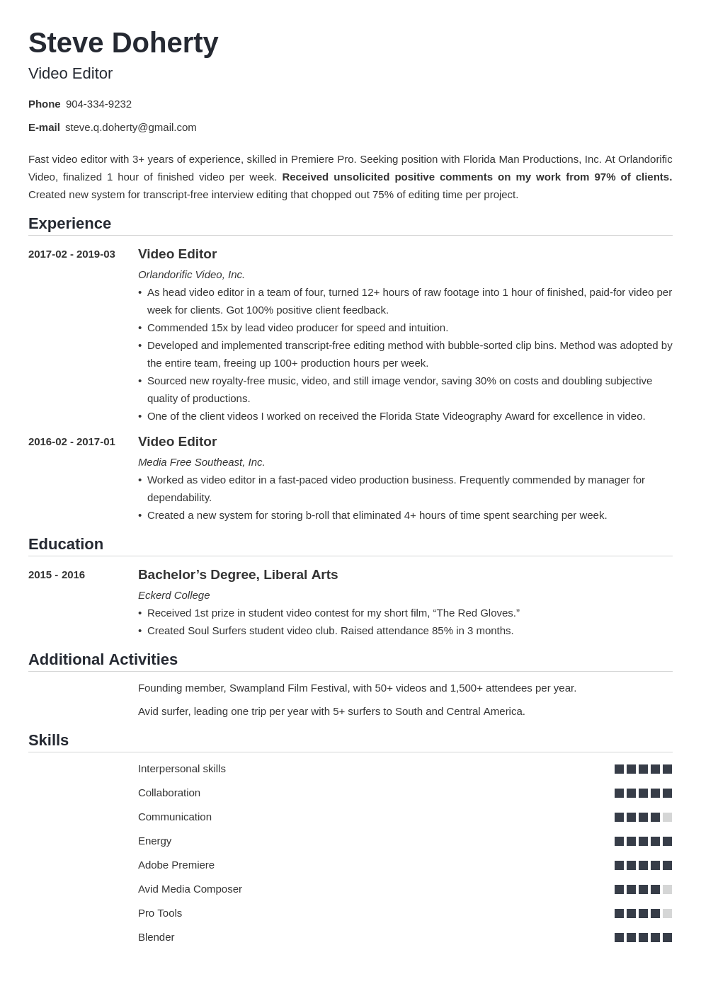 video editor resume example template nanica