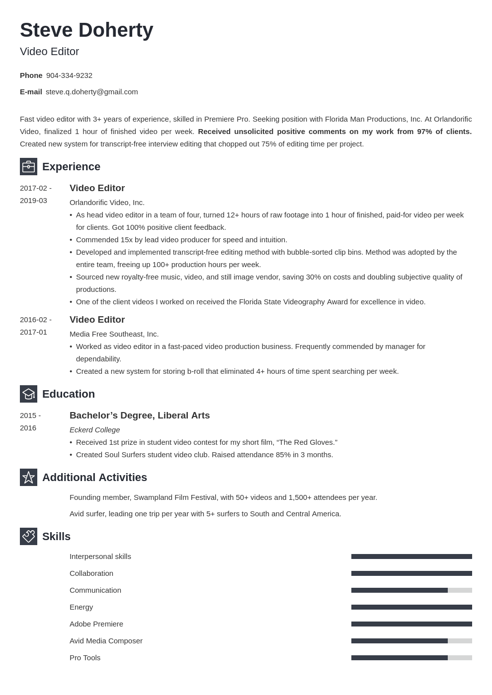 video editor resume example template newcast