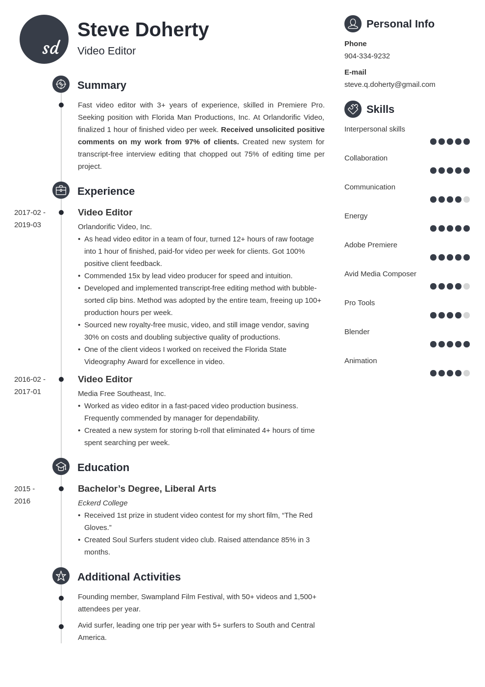 video editor resume example template primo