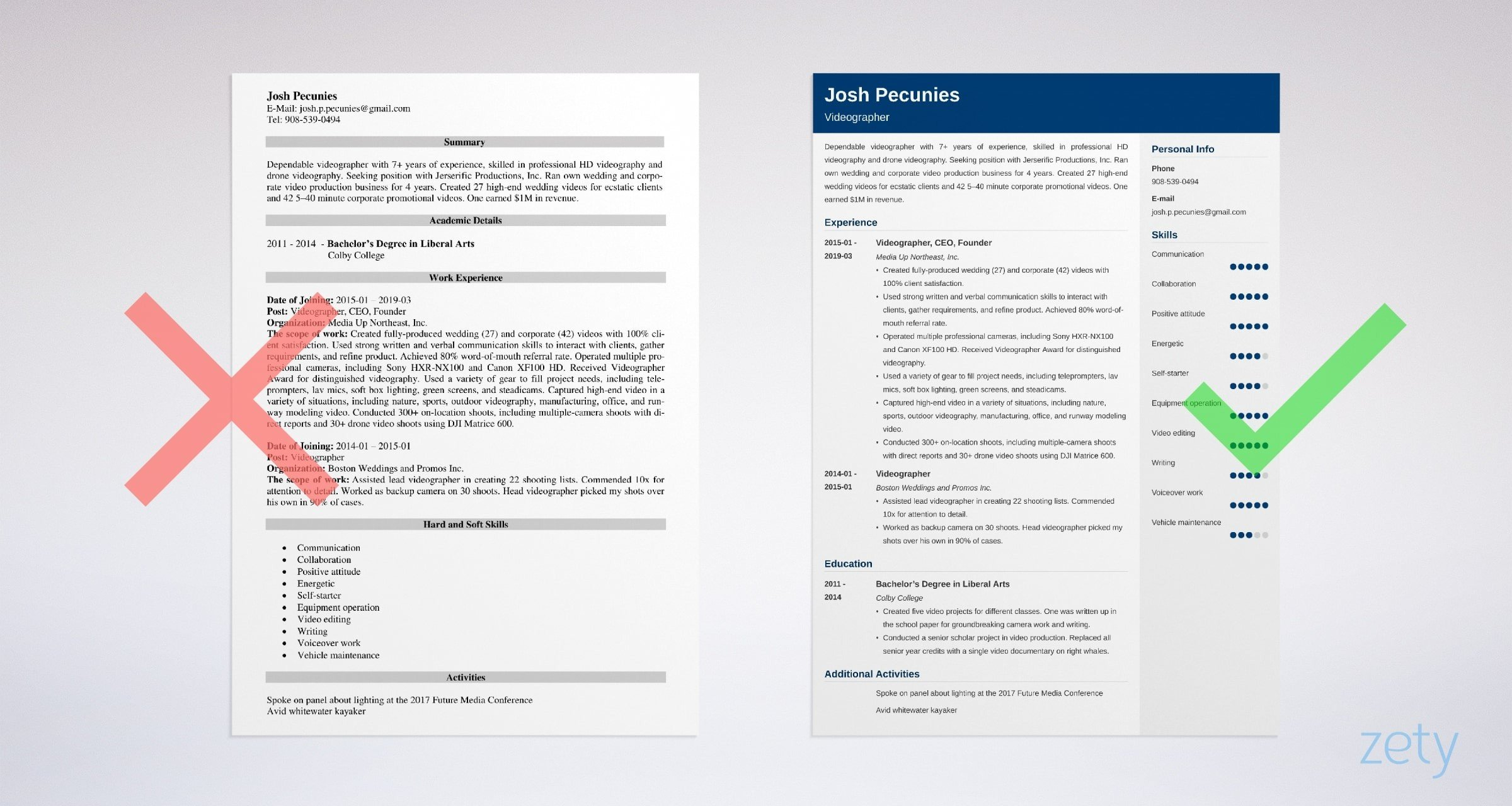 videographer resume templates
