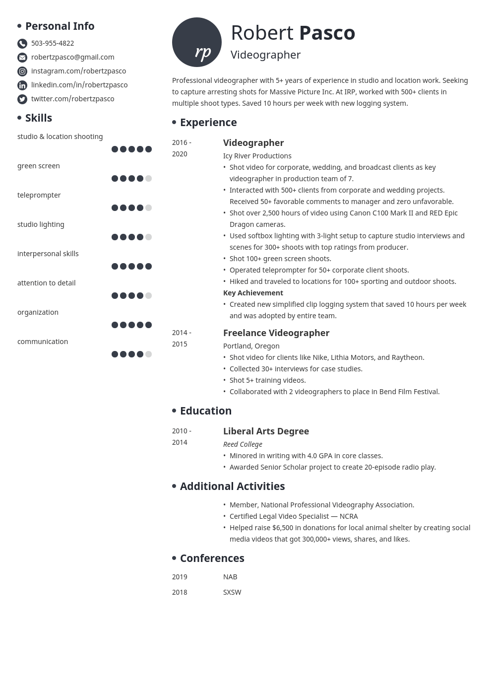 videographer resume example template initials