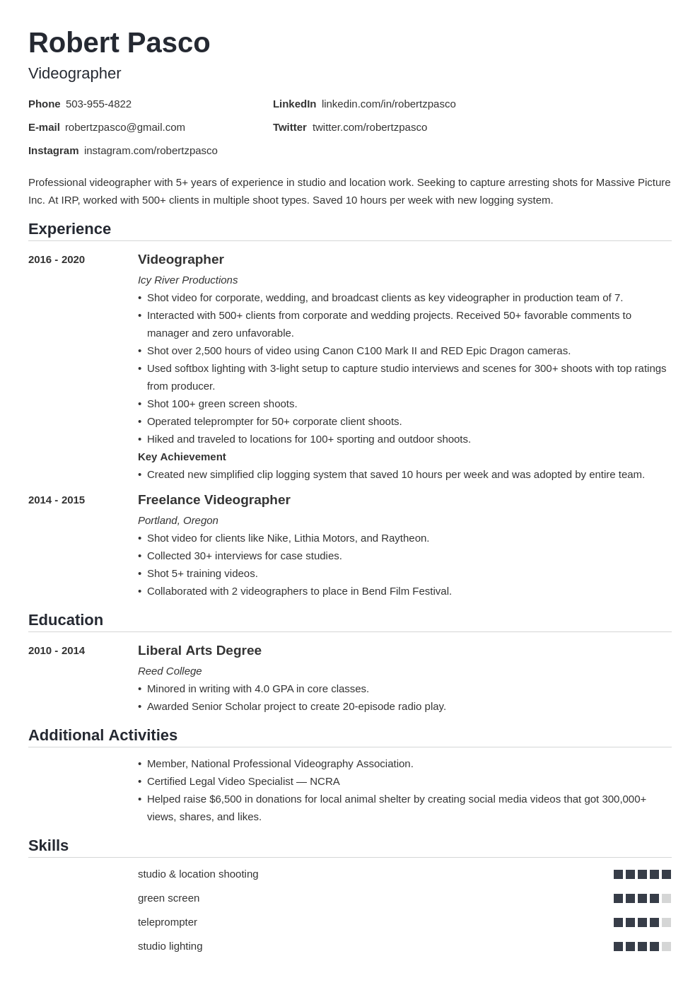 videographer resume example template nanica