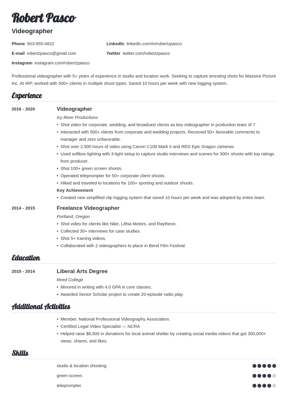 videographer resume example template valera