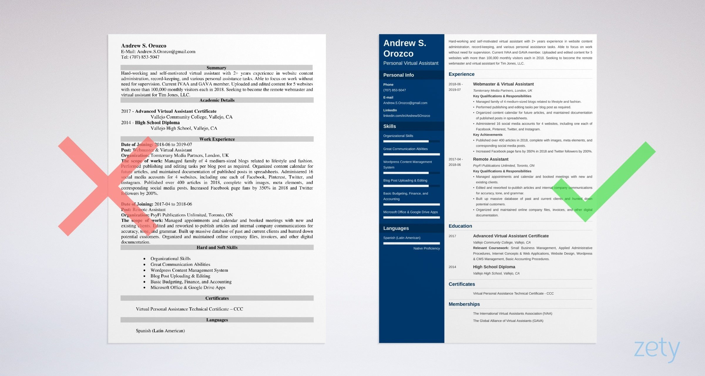 virtual assistant resume templates
