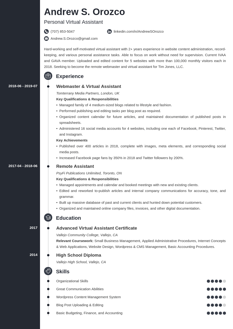 virtual assistant resume example template concept