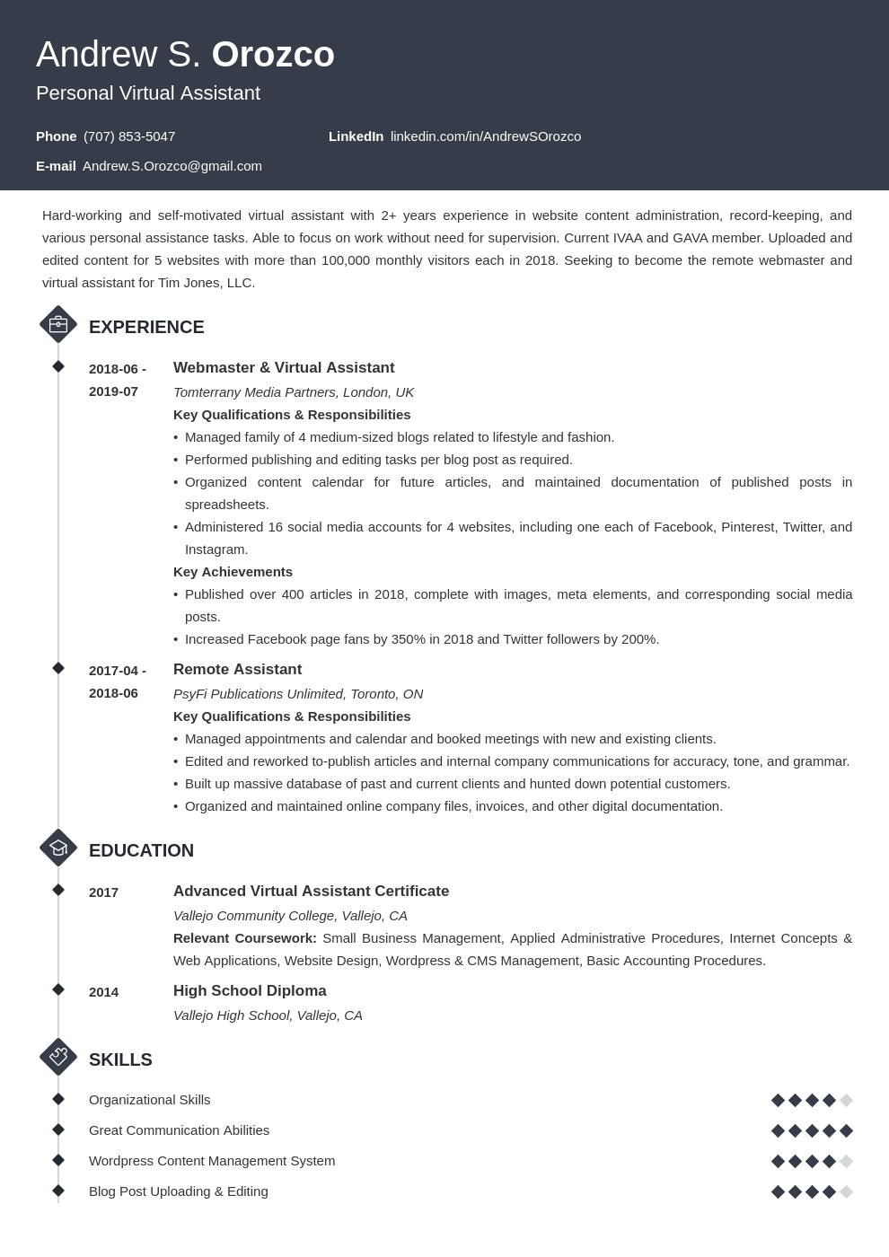 virtual assistant resume example template diamond