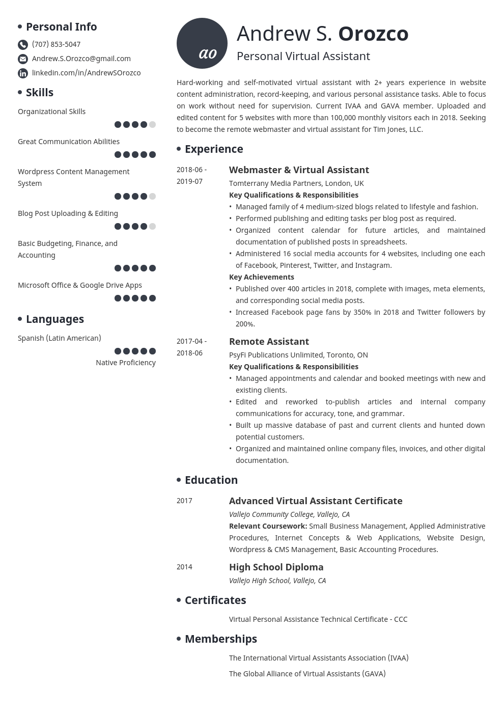 virtual assistant resume example template initials