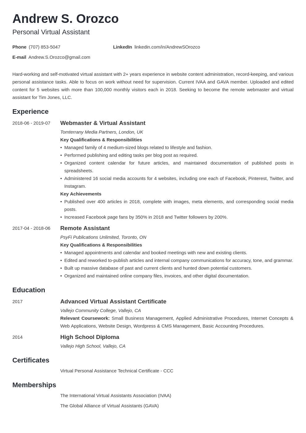 virtual assistant resume example template minimo