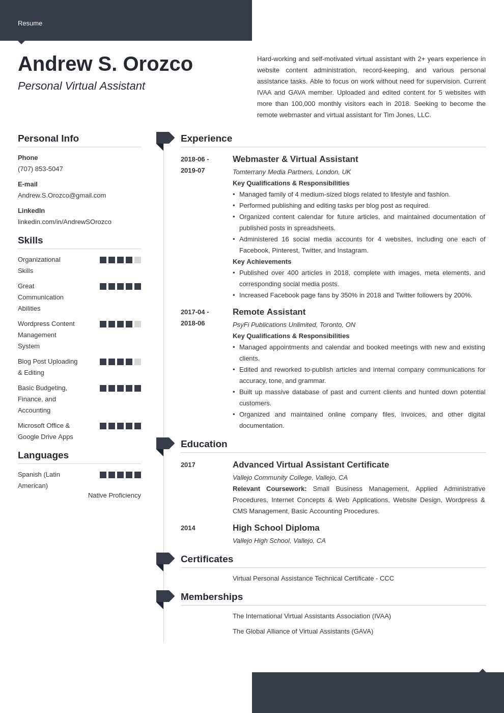 virtual assistant resume example template modern