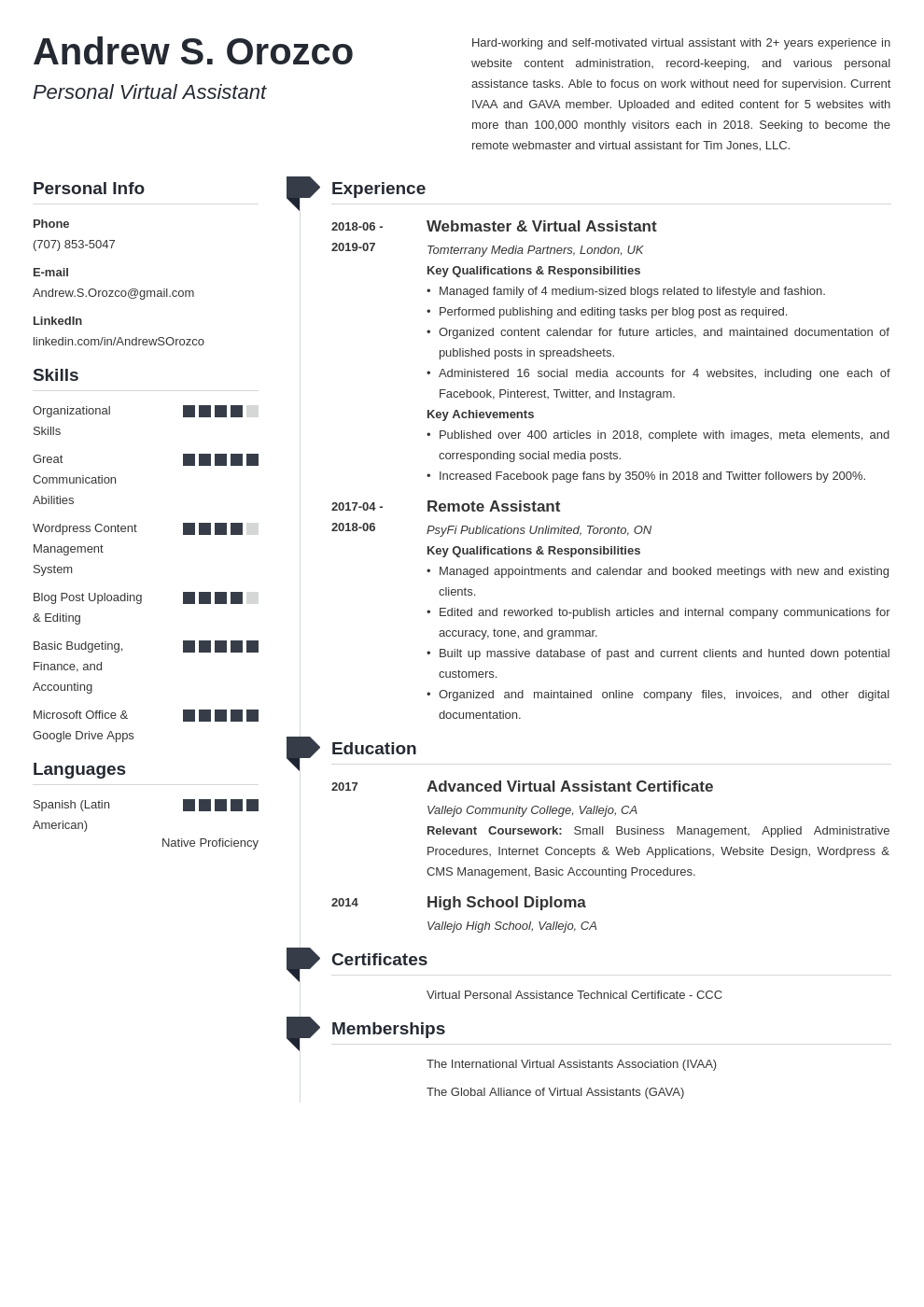 virtual assistant resume example template muse