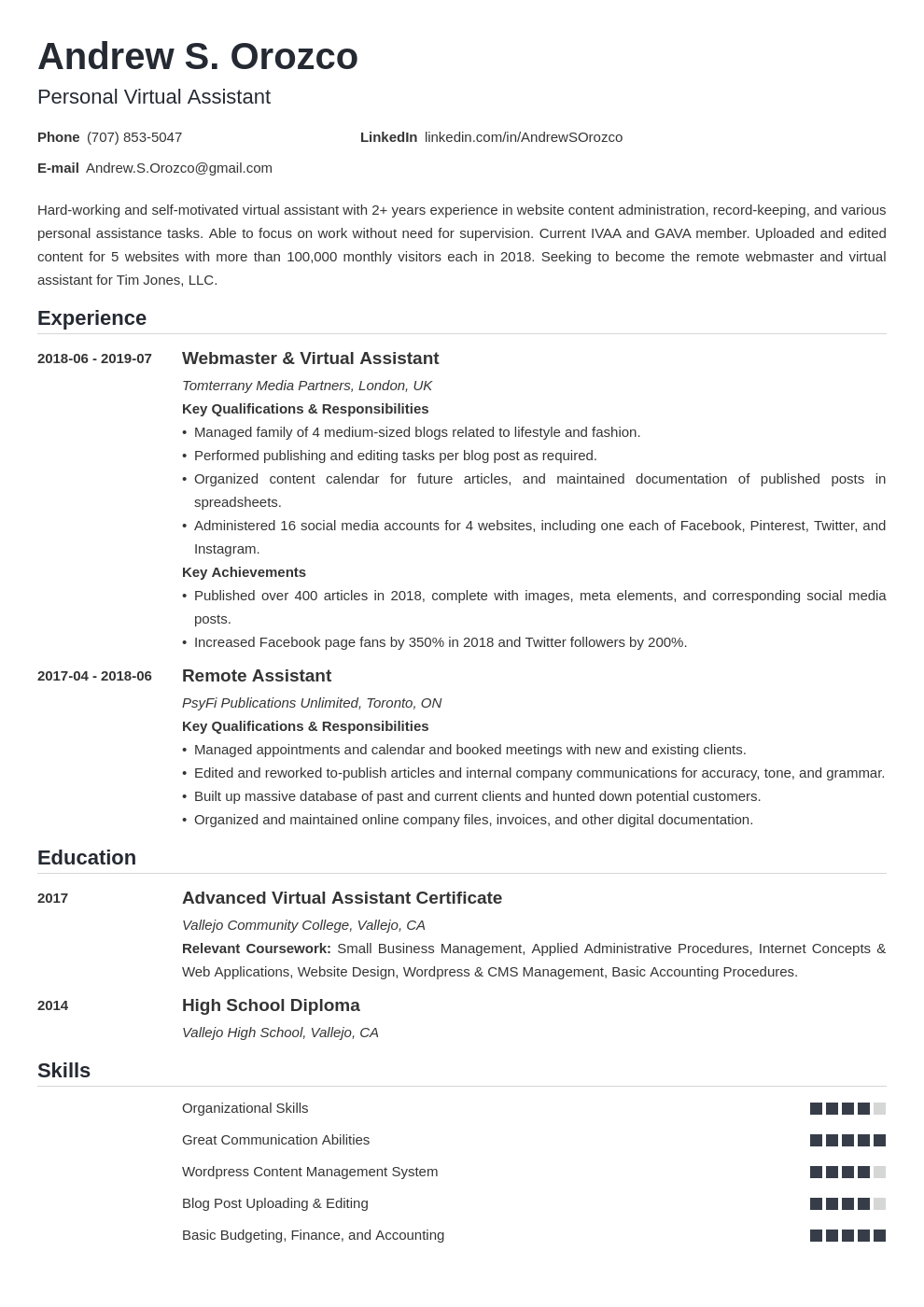 virtual assistant resume example template nanica