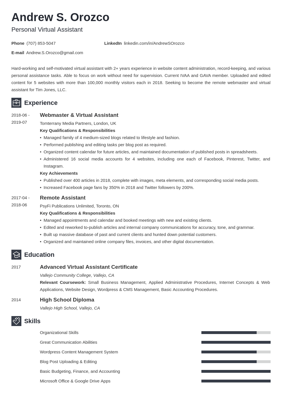 virtual assistant resume example template newcast