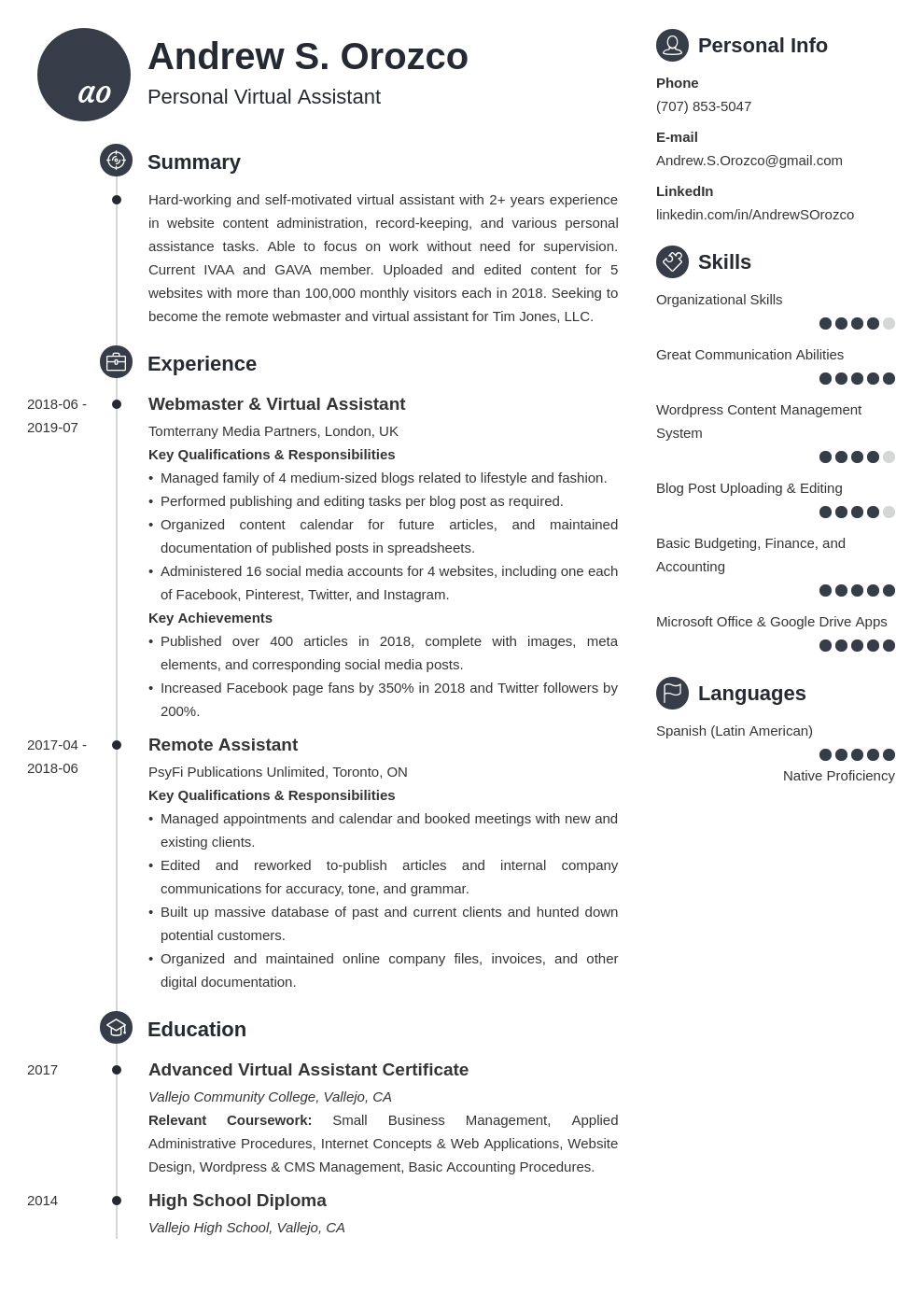 virtual assistant resume example template primo
