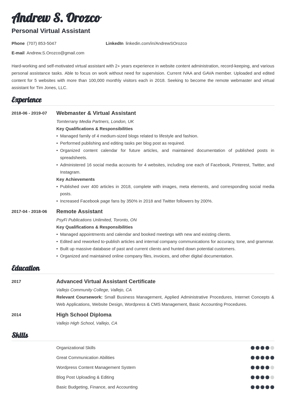 virtual assistant resume example template valera