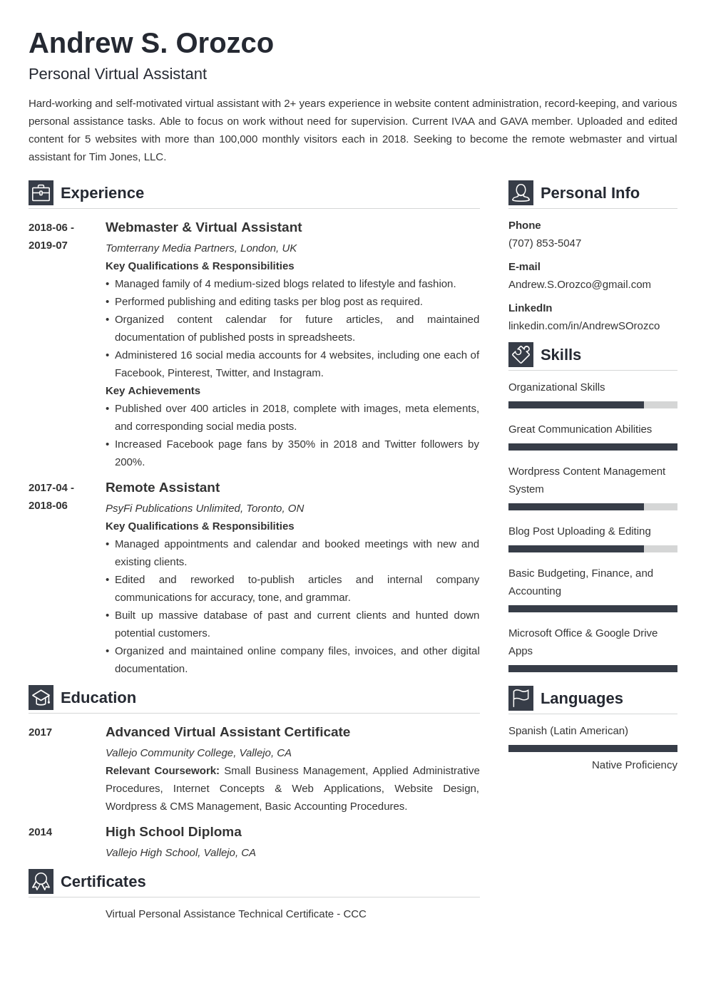 virtual assistant resume example template vibes
