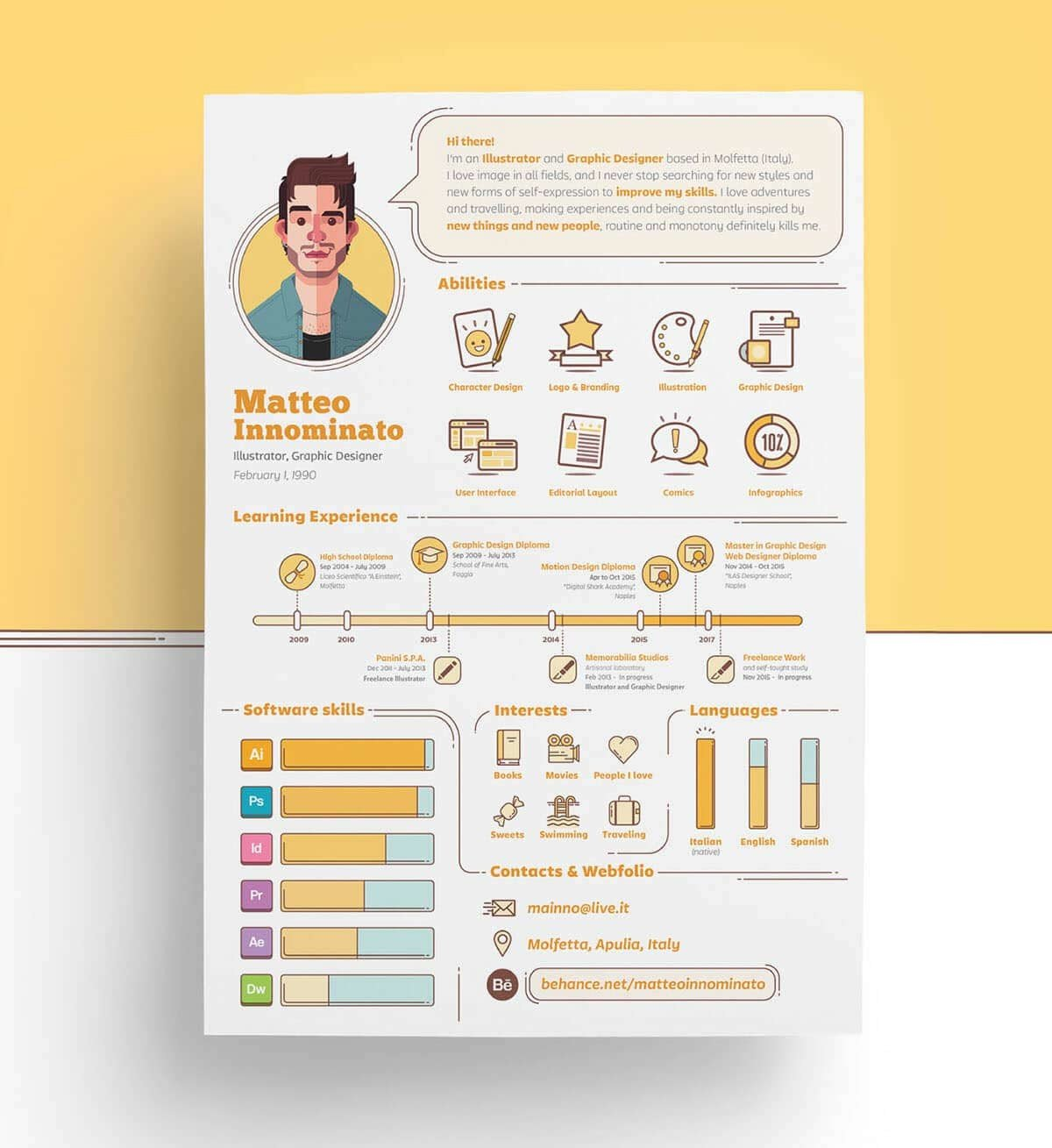 Personal Branding Design By Matteo Innominato On Behance Is Surely One Of The Most Unique Visual Resume Examples Our List Hand Drawn Graphics And