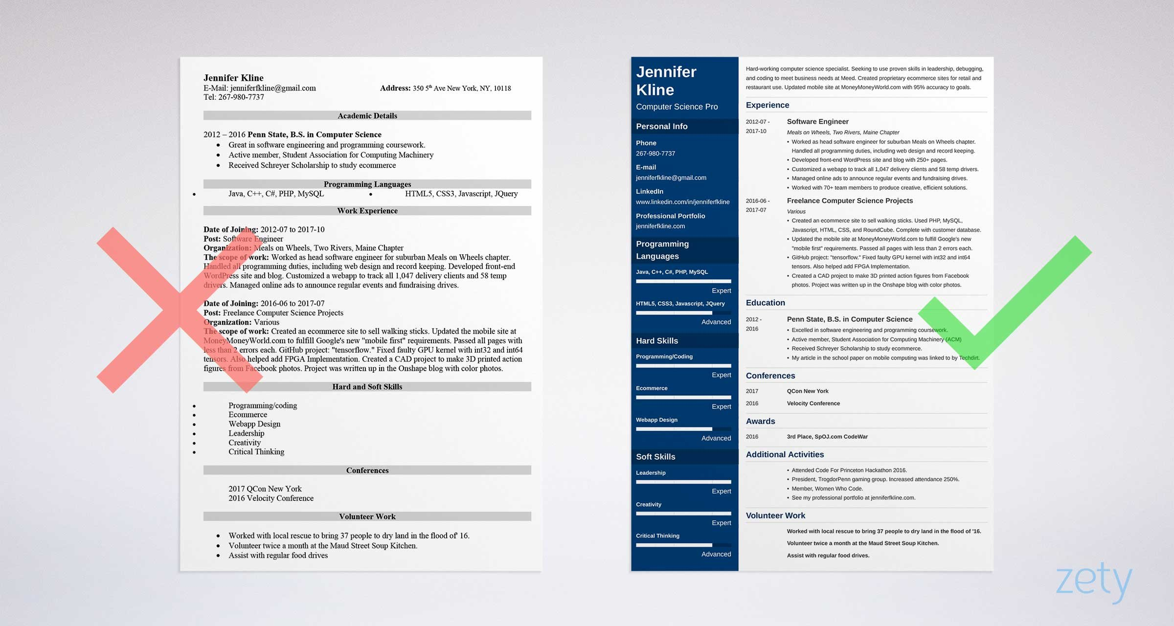Volunteer work examples for resume