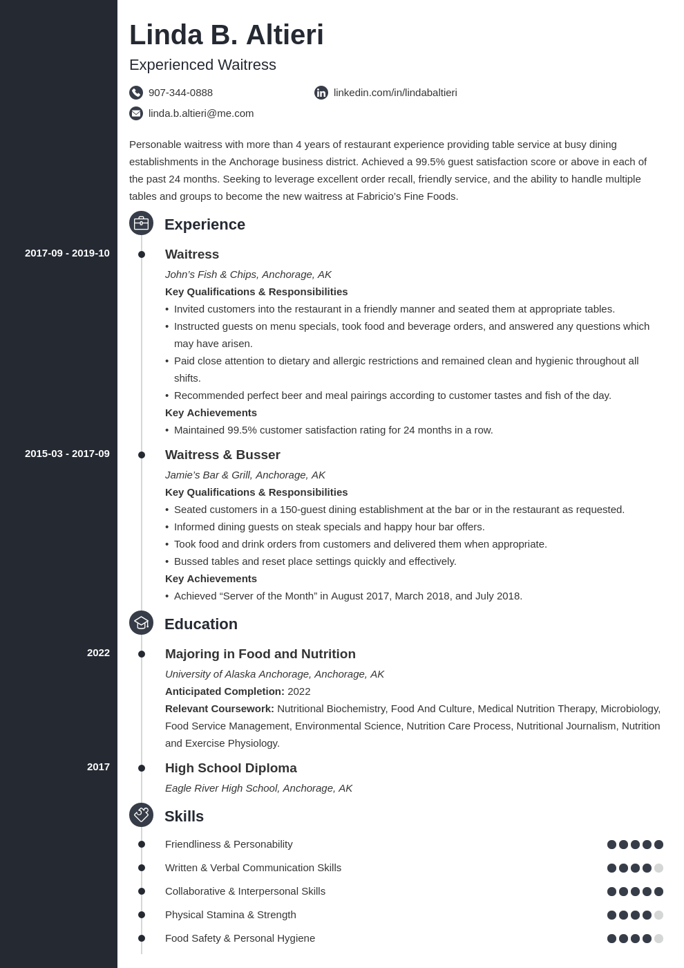 waiter waitress resume example template concept
